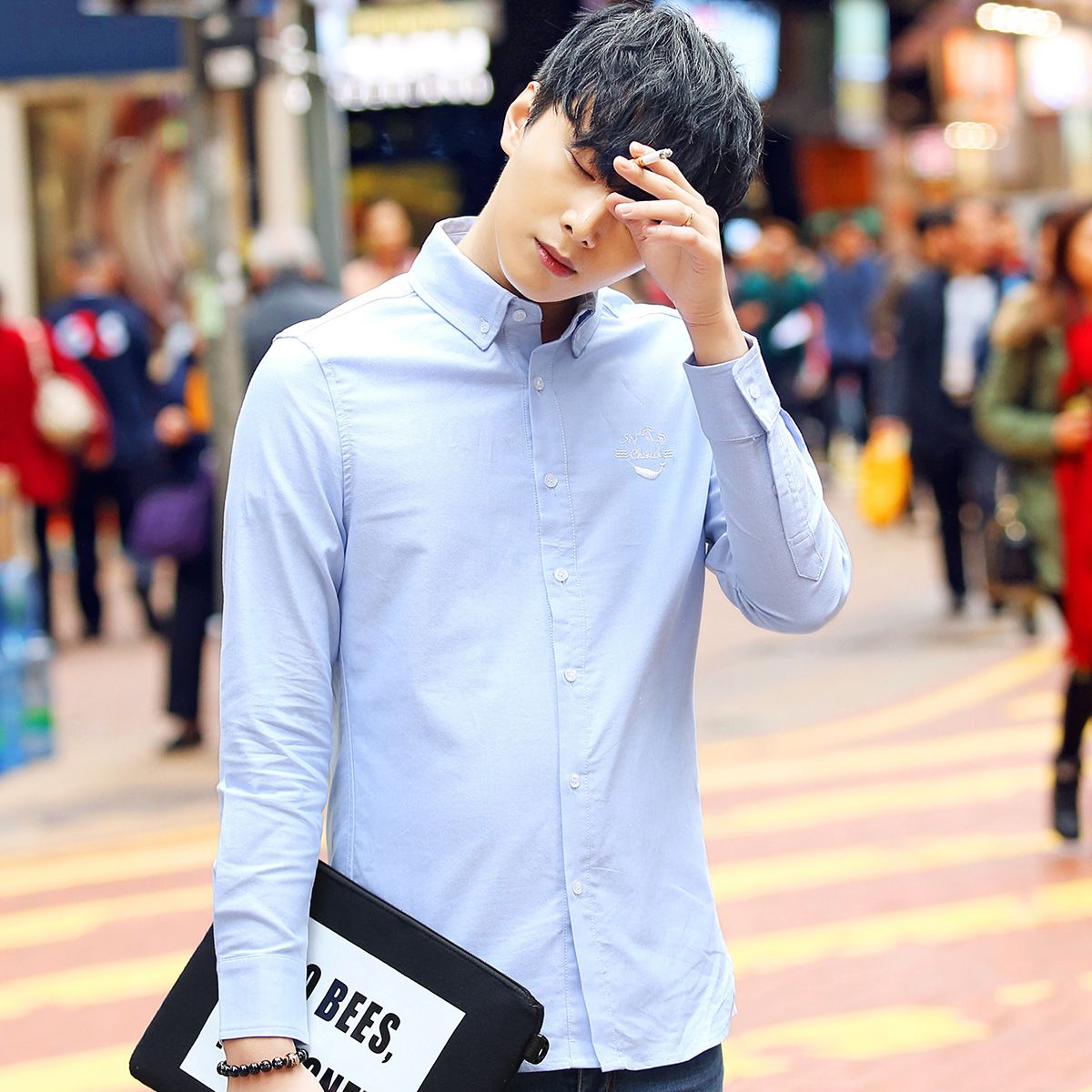 2017 autumn male long-sleeve shirt slim shirt clothes casual men's clothing shirt