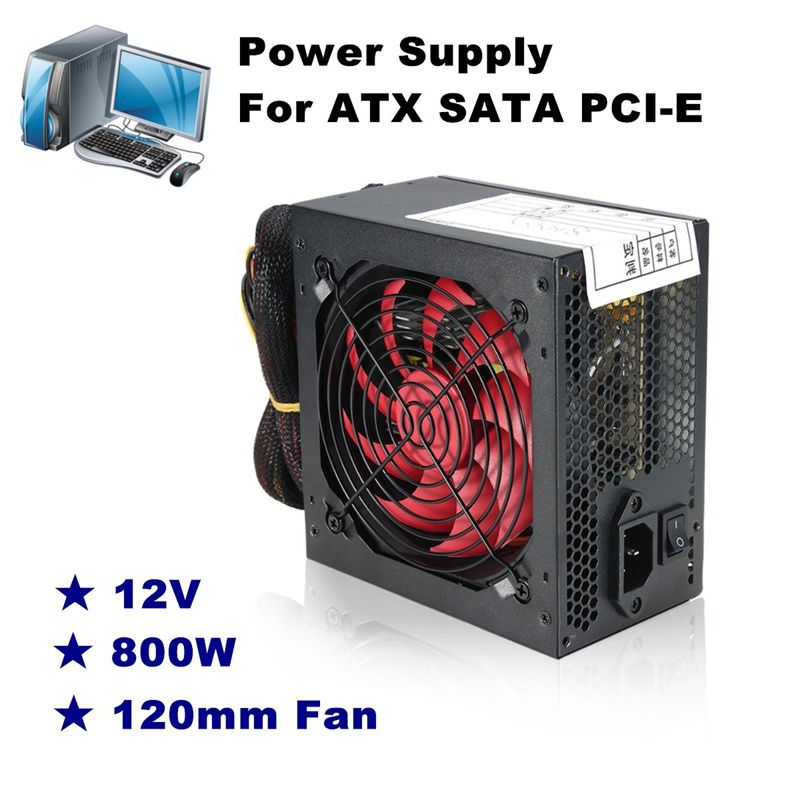 Quiet 800 Watt 800W for Intel AMD PC 12V ATX PC Power Supply SLI PCI-E 12CM Fan High Quality Computer Power Supply For BTC