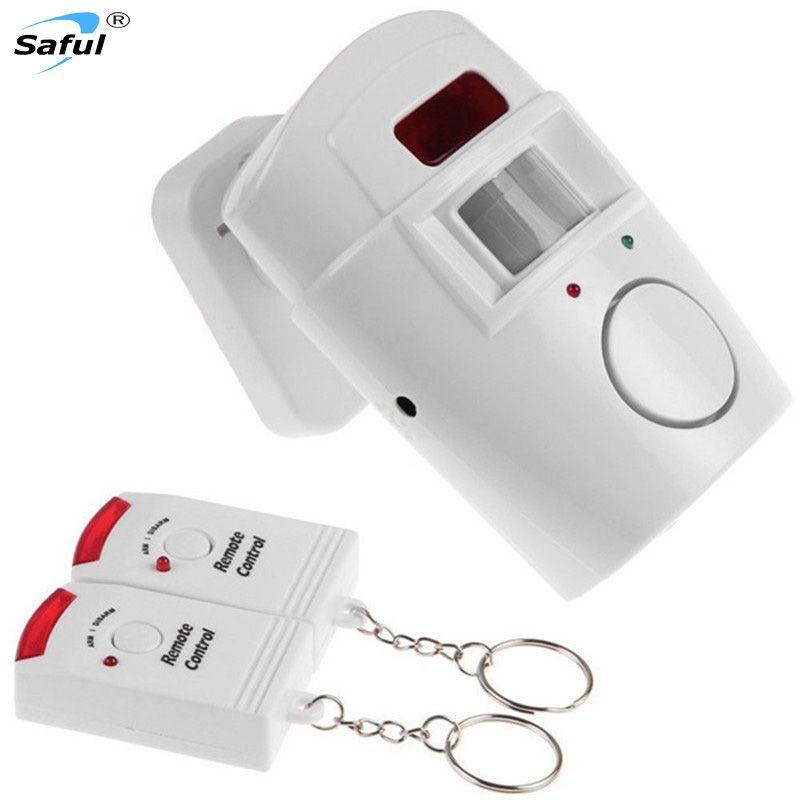 105DB seguridad inalámbrica ir sensor de movimiento infrarrojo detector de alarma sistema de alarma 2 controlador remoto