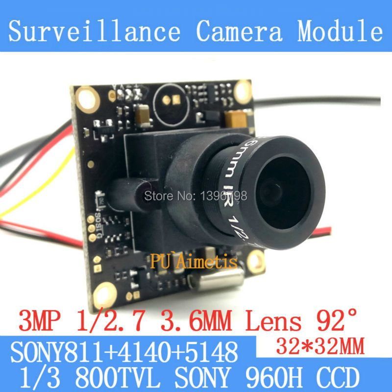 32*32mm Surveillance camera 800TVL 1/3 Effio CCD Sony 811+4140+5148 CCTV camera module,3MP+3.6mm lens 92 degrees+BNC/OSDCable