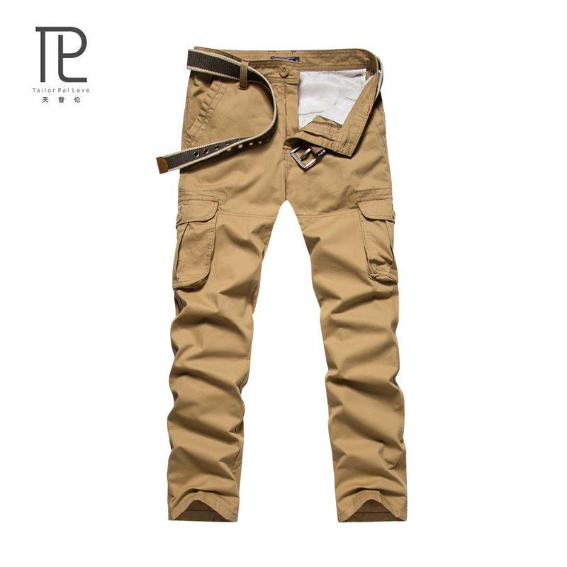 Sastre Pal Amor 2017 de Invierno Para Hombre Pantalones Largos Hombres Transpirable Multi-Bolsillo Masculino Duradera Marca De Ropa Casual Pant 100% algodón # C2