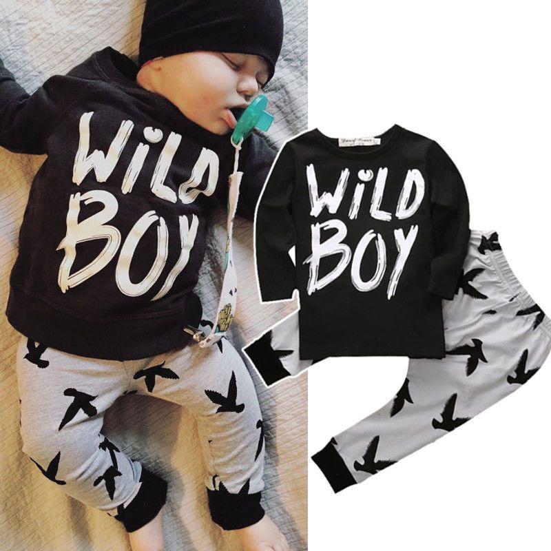 2 pièces nouveau-né enfant en bas âge infantile enfants bébé garçon vêtements t-shirts hauts + pantalon tenues ensemble