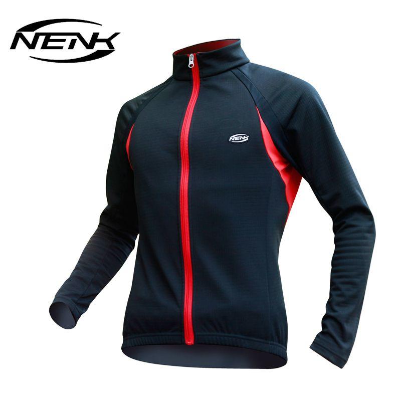NENK Winter Thermal Running Cycling Long Jersey Windproof Men Jacket Anti-Pilling Jerseys Bicycle Bike Hiking Mount Riding