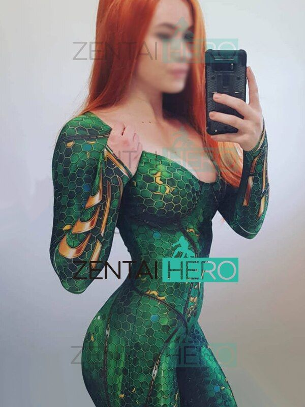 Free Shipping 3D Printed DC Marvel Queen Mera Costume Film Version Justice League Costumes Tight Catsuit Cosplay Superhero Suit