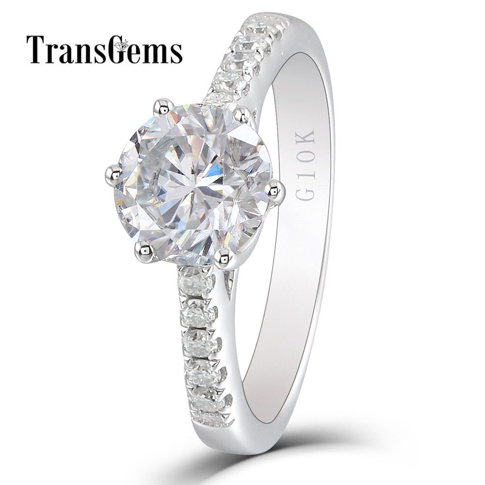 Transgems 10K White Gold Center 1.5ct 7.5mm GH Nearly Colorless Moissanite Engagement Ring Solitare with Accents for Women