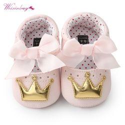 Bebé Niñas princesa Zapatos primavera otoño pu mariposa Linda corona niño antideslizantes Zapatos bebé suave soled Zapatos interior patucos