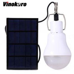 Vinokuro conservación de energía útil 15 W 130LM Portable Tent Led Bombilla luz cargada energía Solar lámpara hogar iluminación al aire libre del Panel