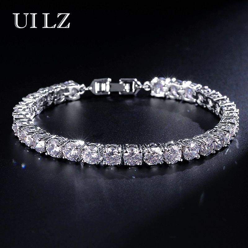 UILZ Zircon Rome Bride Chain Bracelet & Bangles Men's Hip hop Jewelry Cut 5.0 mm CZ Tennis Bracelet For Women/Men Party JMBP051