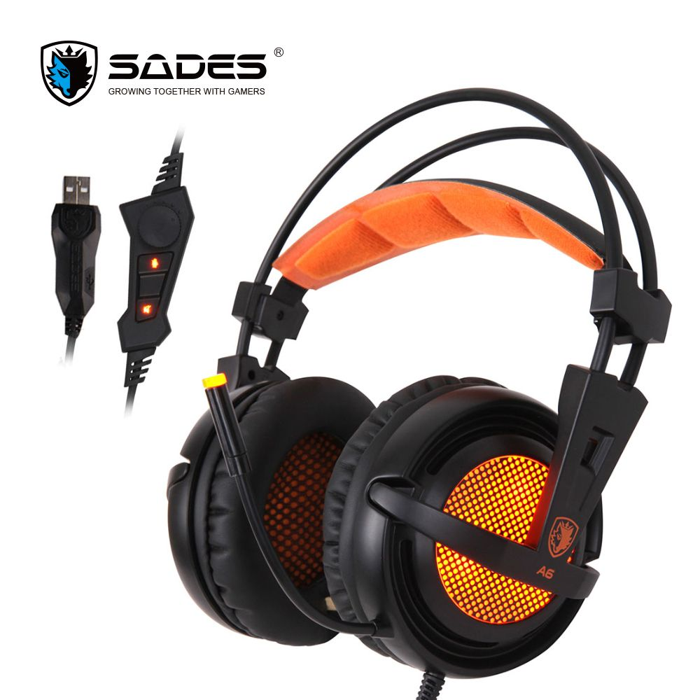 SADES A6 7.1 Stereo headphones 2.2m USB Cable Gaming headset with Mic <font><b>Voice</b></font> Control for Laptop Computer