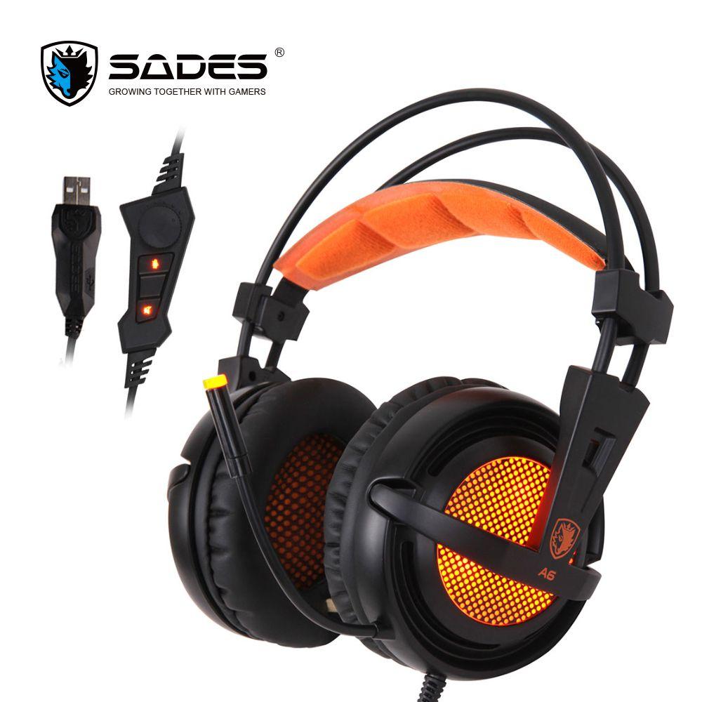 Sades A6 7.1 стерео наушники 2.2 м кабель USB игровая гарнитура с микрофоном голос Управление для портативных компьютеров