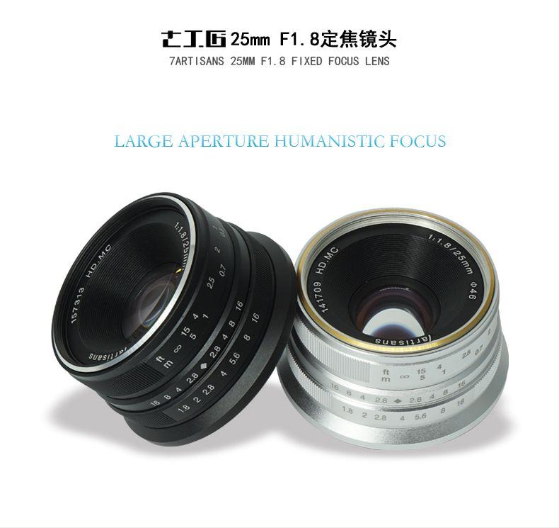 7artisans 25mm/F1.8 Prime Lens to All Single Series for E Mount EOS-M Mout/ for Micro4/3 Cameras A6300 NEX-6 XA3 XA10 XT2 EM10II