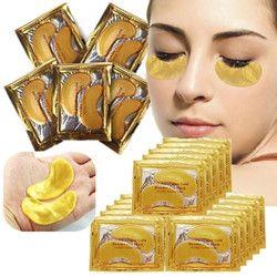 10pcs=5 Pack Eye Mask Golden Crystal Collagen Eye Mask Anti-Dark Circle Moisturizing Anti-Aging Hyaluronic Acid Eye Mask
