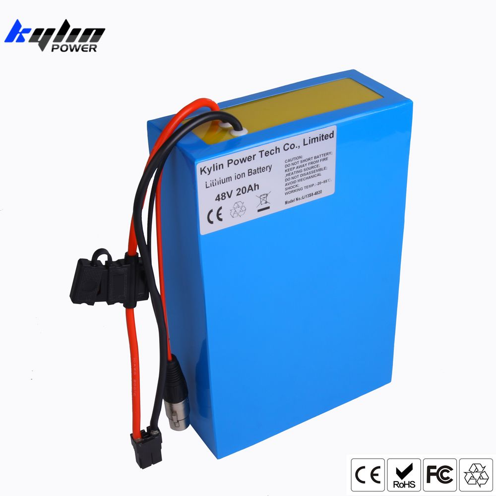 Original 48V 20AH Lithium ion Electric Scooter Bike Battery for Li-ion Ebike 750W 1000W Bicycle Motor & 30A BMS 54.6V 2A Charger