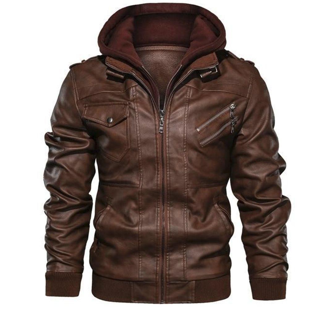 Spring Fashion Motorcycle Leather Jacket Men Slim Fit Oblique Zipper PU Jacket Autumn Men Leather Jackets Coats Black