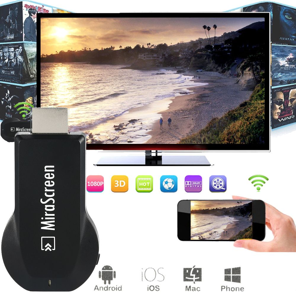 Mirascreen HDMI OTA TV <font><b>Stick</b></font> Dongle Wi-Fi Display Receiver better anycast DLNA Airplay Miracast Airmirroring Chromecast TVSE5