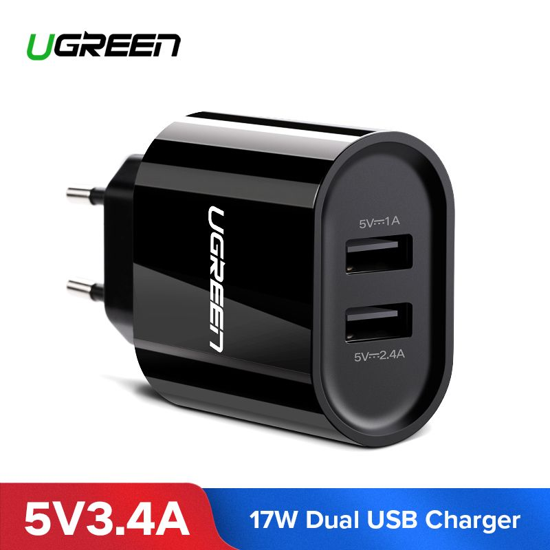 Ugreen USB Charger 3.4A 17W for iPhone 8 X 7 6 iPad Smart USB Wall Charger for Samsung Galaxy S9 LG G5 Dual Mobile Phone Charger