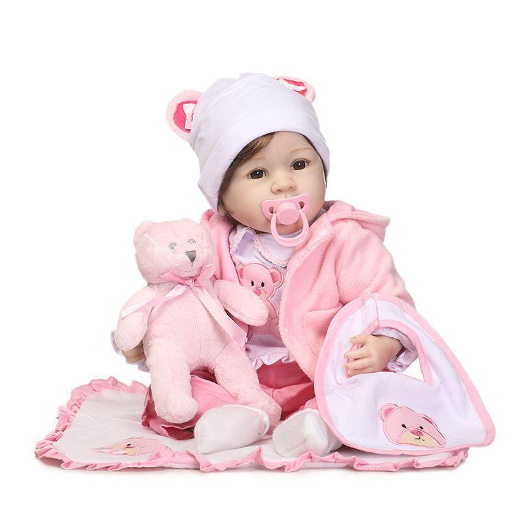 55 см силикона Reborn Baby Doll Игрушечные лошадки с медведем Соски Роскошные Интимные аксессуары принцессы Куклы прекрасный подарок на день рожде...