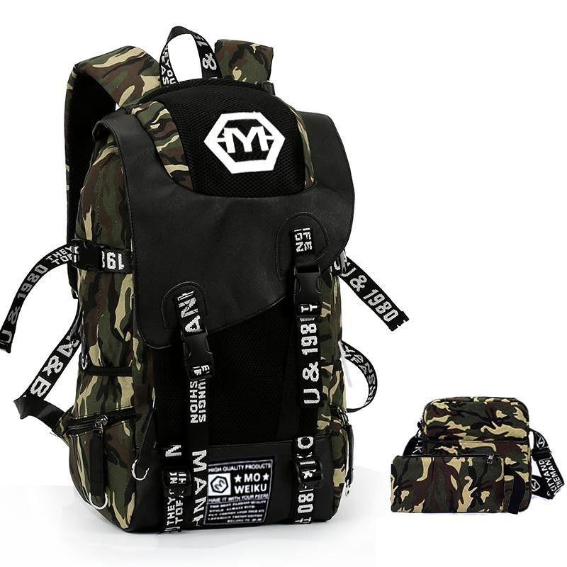 Рюкзак наборы большой камуфляж рюкзак мужчин Граффити Холст Школьные сумки большой емкости Back Pack военные Mochila USB зарядки