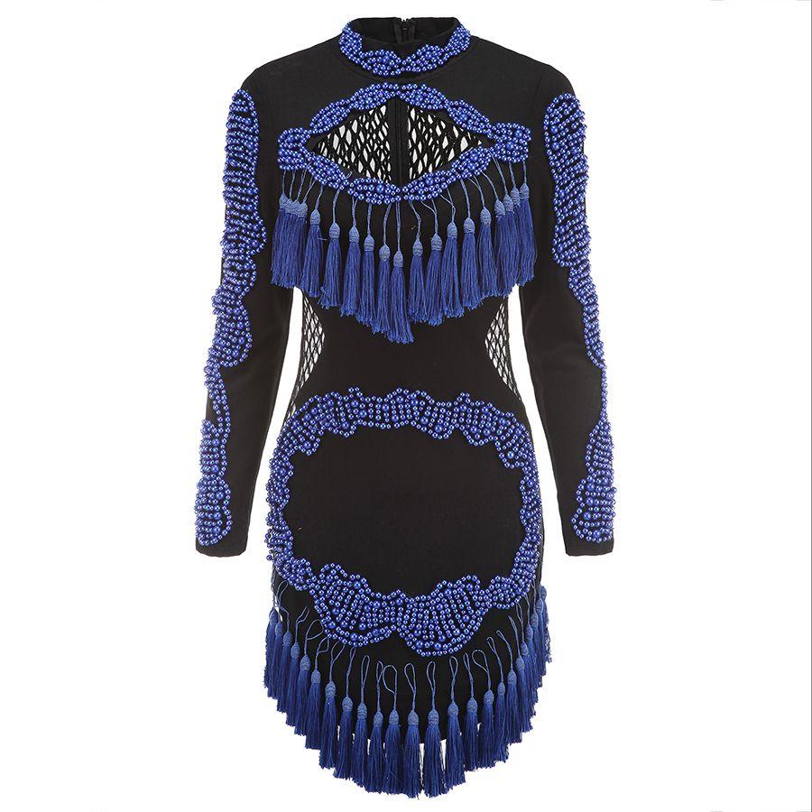 HAUTE QUALITÉ Nouvelle Mode 2018 BAROCCO Unique Piste Robe de Femmes Creusent dehors Gland De Luxe Manuel Main Perles Robe