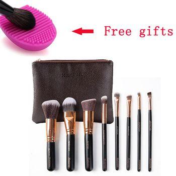 Бренд макияж mostarsea кисти набор 8 шт./компл. pro мягкие волокна полное смешение лесистой ручкой с кожаная сумка