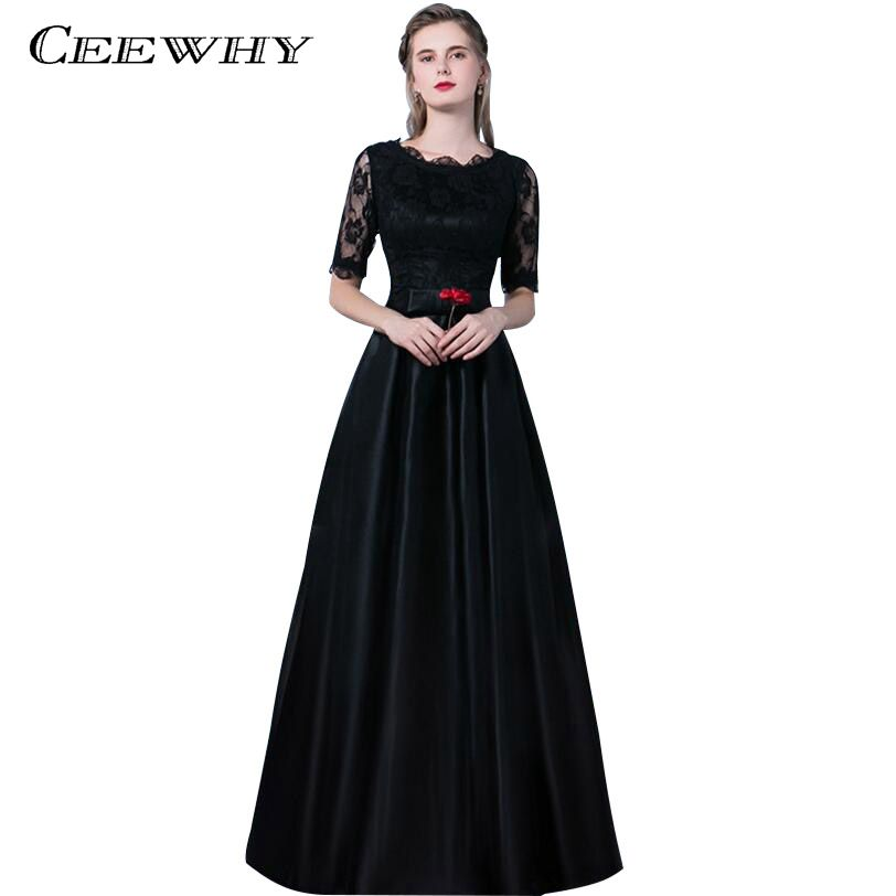 CEEWHY O-Neck Long Lace Formal Dress Black Evening Party Dress Half Sleeve Prom Dresses Robe De Soiree Satin Evening Gown