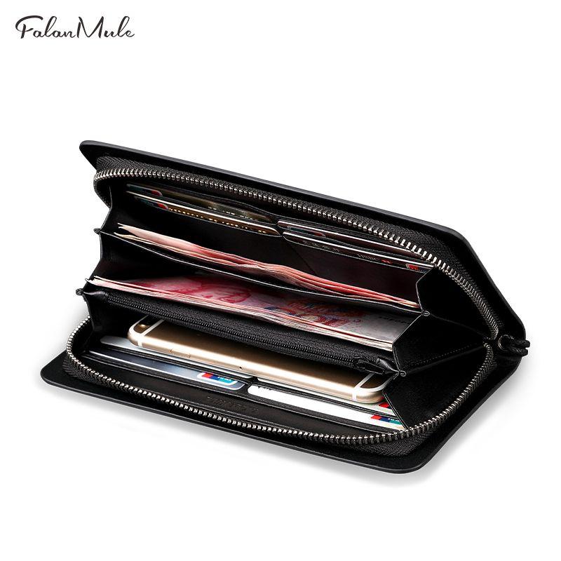 FALAN MULE Business Men Wallets Long Zipper Male Wallet Split Leather Wallet Men Purses Wallet Male Clutch Handy Bag Clutch