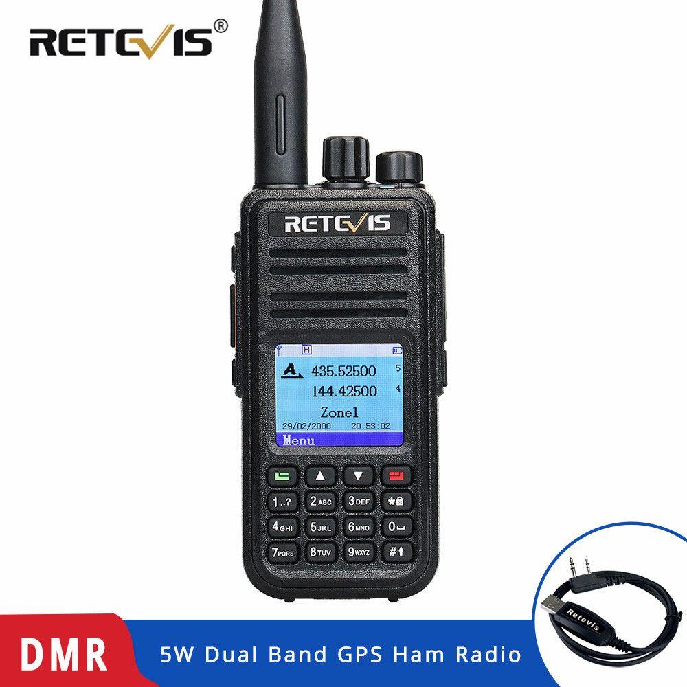 Rechapé RT3S DMR Radio numérique talkie-walkie (GPS) 5 W VHF UHF double bande DMR Radio émetteur-récepteur jambon Radio Amador + câble de programme