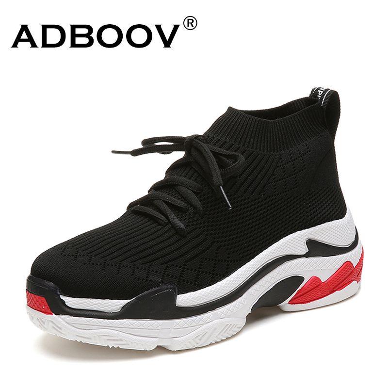 ADBOOV 2018 High Top Fashion Sneakers Women Breathable Knit Upper Platform Shoes Tenis Feminino Casual Shoes Women Black/Red