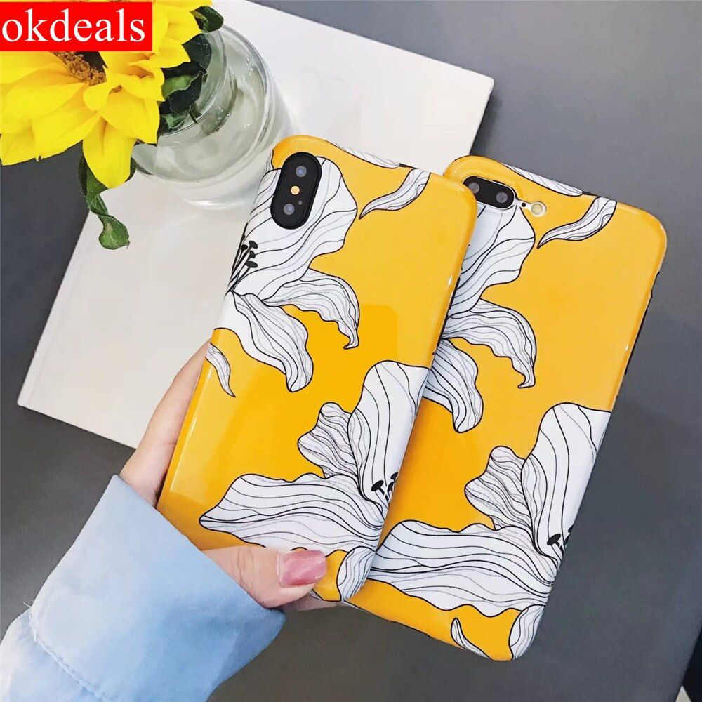 New Fashion Yellow Flowers Mobile Case for Iphone X 6 6s plus Case Glossy Soft IMD Silicone Back Cover for Iphone 7 8 Plus Cover