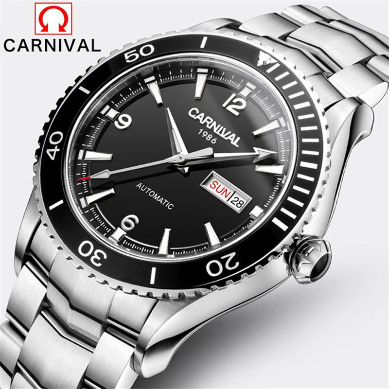 Carnival New Diving series Watch Men Stainless Steel Automatic Machine Date Week Luxury Luminous Wristwatch Mens Clock Relogios