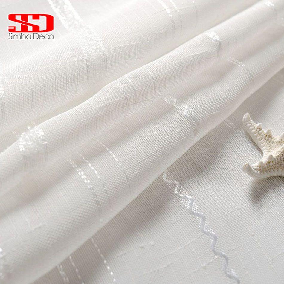 Blanco Ventana Voile Cortinas de Tul Para Salón de Seda Hilo de Lino A Rayas Cortina Escarpada Para Dormitorio Cocina Panel de Tamaño Personalizado