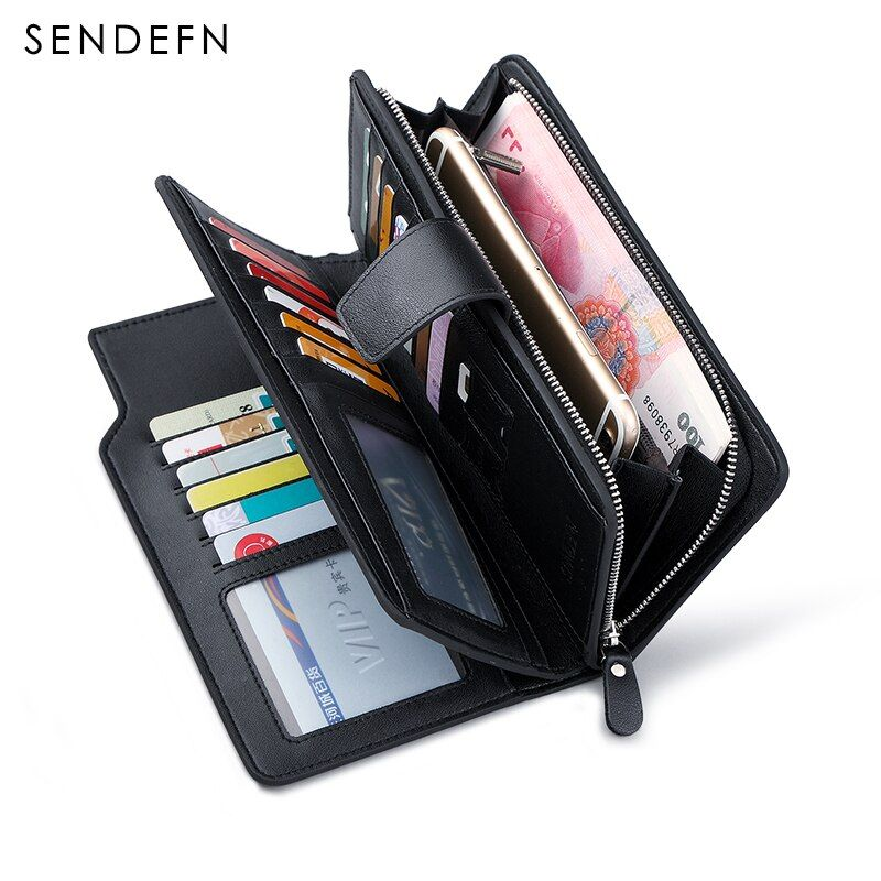 Heißer Verkauf Luxus Echtem Leder Männer Brieftaschen Lange Geldbörse SENDEFN Mann Brieftasche Kartenhalter Männlichen Kupplung Reißverschluss Münzfach