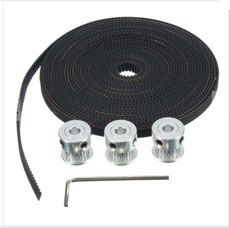 DuoWeiSi 3D Printer Parts GT2 Aluminum Timing Pulley 5M Belt For RepRap Prusa Mendel 3D Printer