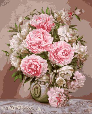 Numérique Rose pivoine vase bricolage peinture à l'huile par numéros mur décoration peinture cadeau unique fleur artisanat création image