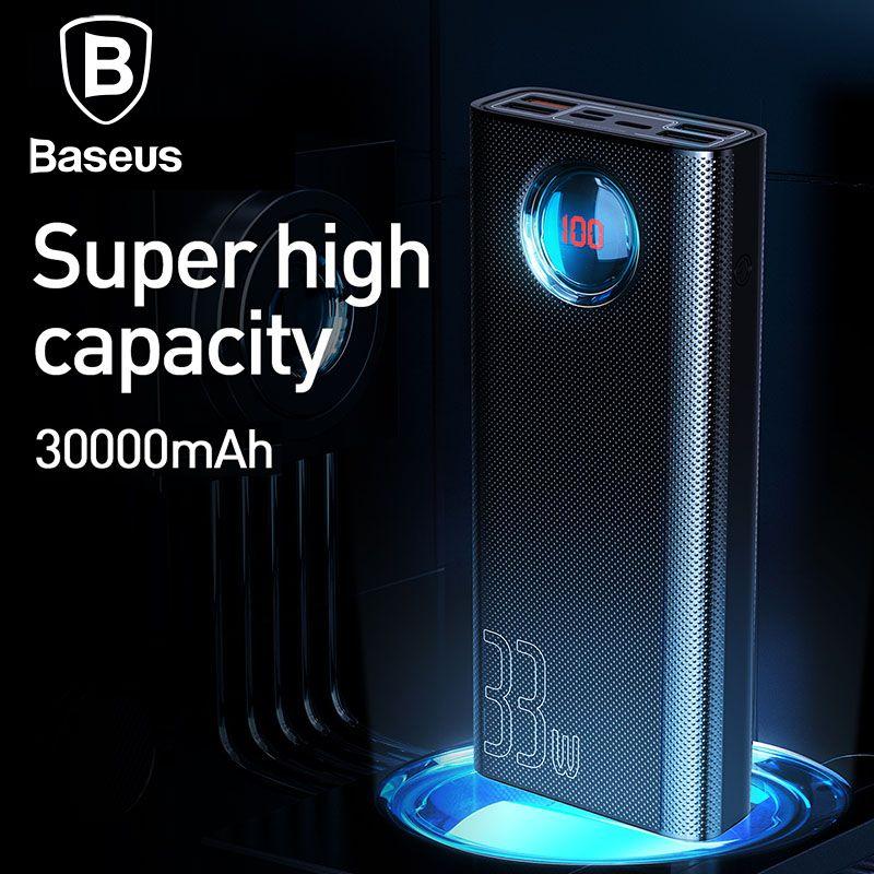 Baseus 30000mAh batterie externe QC 3.0 + PD chargeur rapide 33W chargeur Powerbank pour iPhone Portable chargeur de batterie externe
