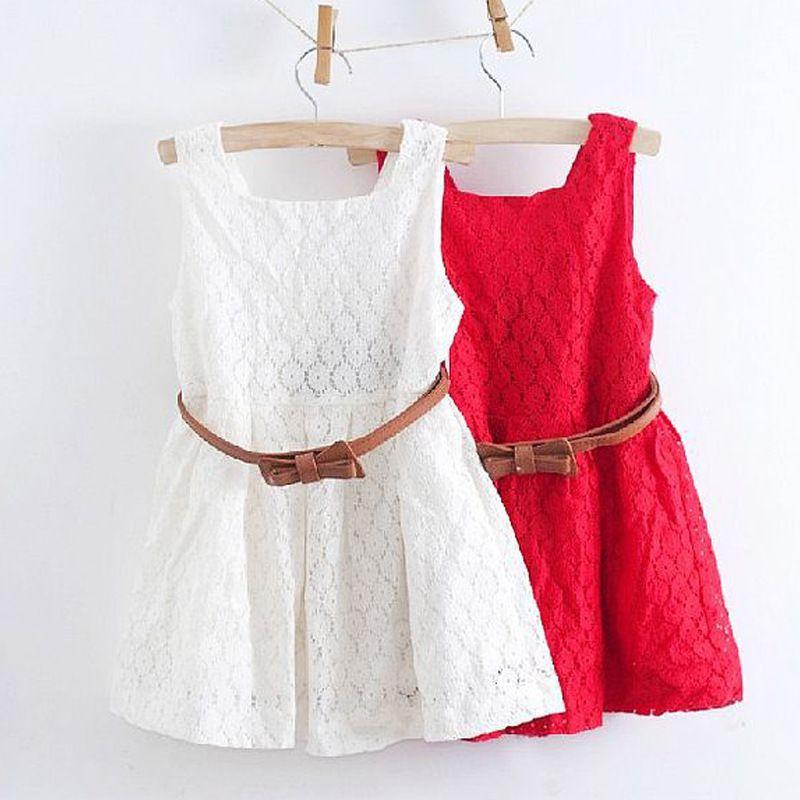 2019 été dentelle gilet filles robe bébé fille princesse robe 2-8 ans enfants vêtements enfants fête vêtements pour filles ceinture gratuite