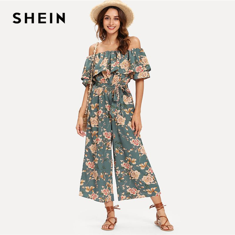 SHEIN Flounce Off Shoulder Self Tie Culotte Jumpsuit Half Sleeve Tiered Layer Jumpsuits Women Summer Beach Vacation Jumpsuit