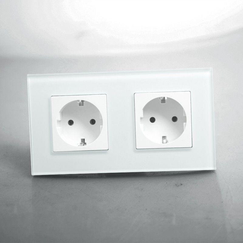 Free shipping,EU Double Power Socket Schuko,White Crystal Glass Panel, 16A EU Standard Wall <font><b>Outlet</b></font> KP002EU-W