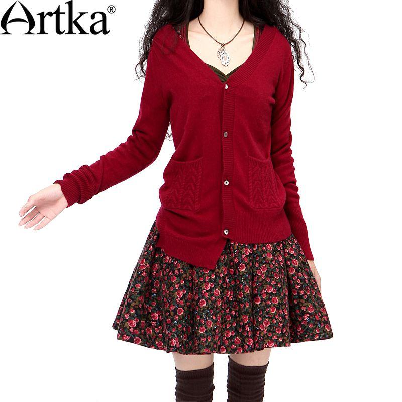 Artka 2018 Autumn Women's Cardigan Sweater Long Sleeve Cashmere Sweater Women Plus Size Cardigan Knitted Wool Sweater WC15339D