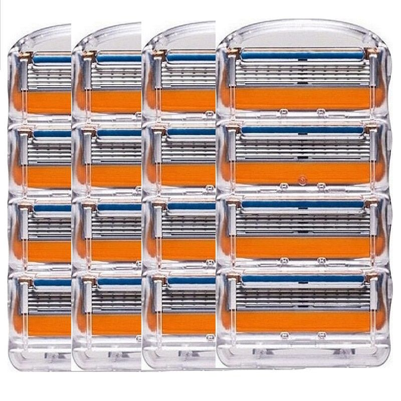 16 Pcs/Pack. Hommes lames de rasoir Cassettes de rasage de haute qualité soins du visage hommes lames de rasage compatibles avec Gillettee Fusione