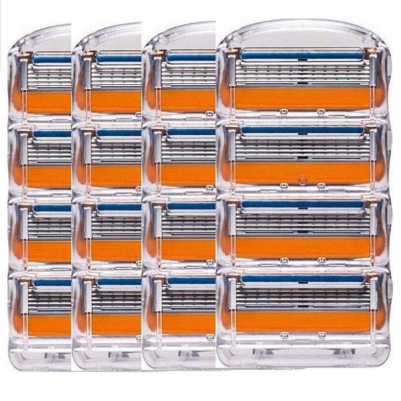 16 pcs/pack. Hommes Lames de Rasoir Haute Qualité Rasage Cassettes Soins Du Visage Hommes Rasage Lames Compatible avec Gillettee Fusione