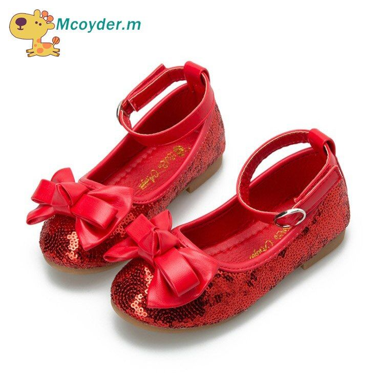 Girls Sequins Shoes Bowtie PU Leather Shoes for Girls Princess Ballet Flats Shoes for Party Wedding Baby Girls Dance Sneakers