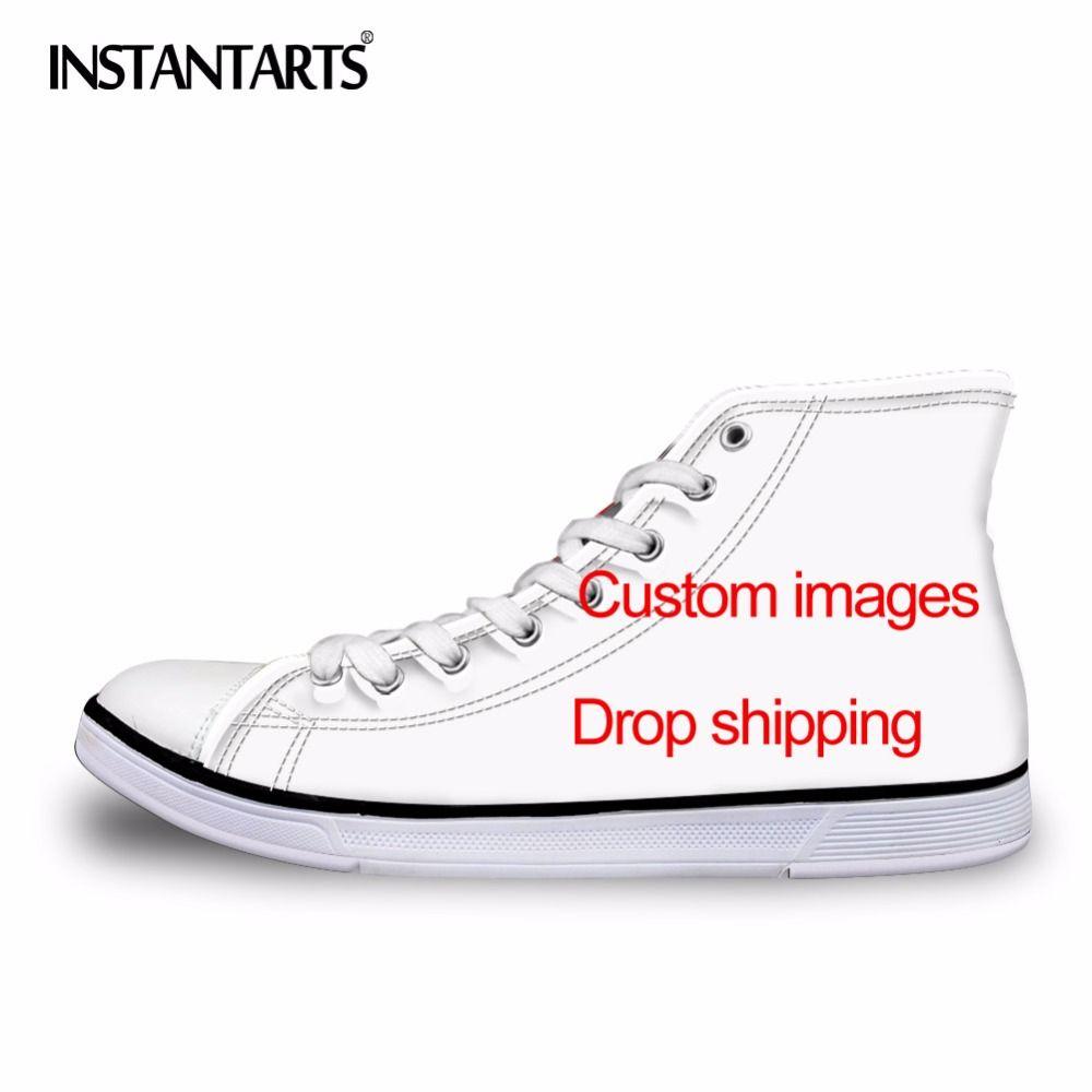 INSTANTARTS Hommes de Vulcaniser Chaussures Classique Superstar High Top Toile Chaussures Personnalisé Images Drop Shipping Hommes Plat Sneakers