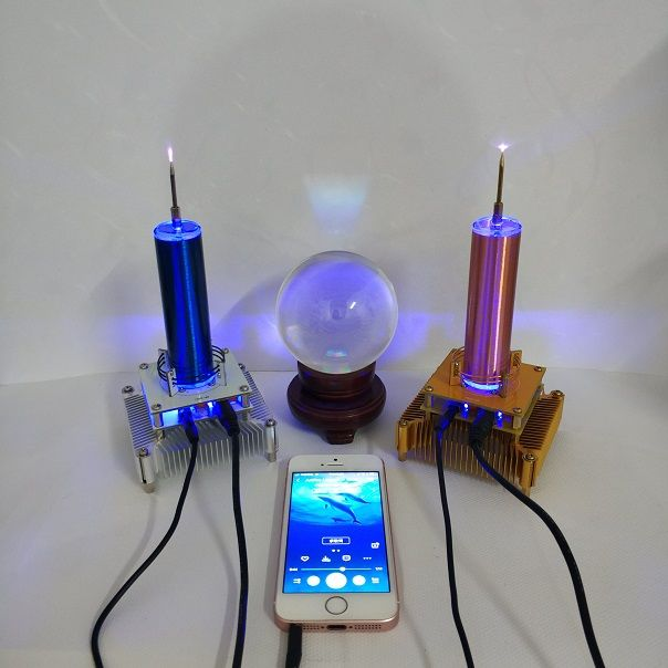 Tesla Coil Put Music Ion Windmill Wreath Spaced Lights Wireless Transmission Radio Station