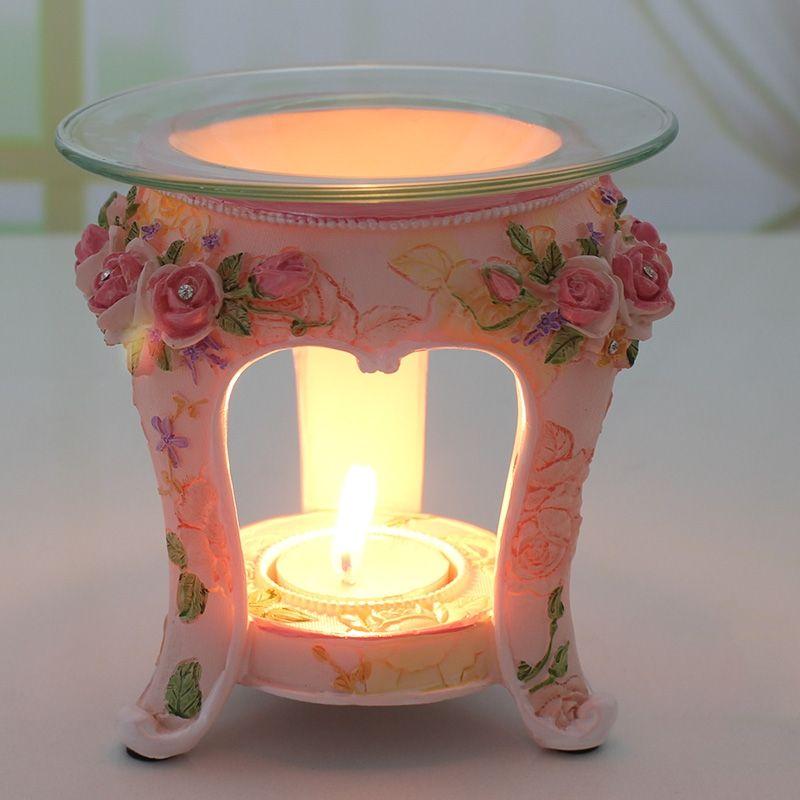 PINNY Style pastorale européen brûleur à huile aromatique résine aromathérapie lampe bougie décoration de la maison artisanat Rose lampe à huile essentielle