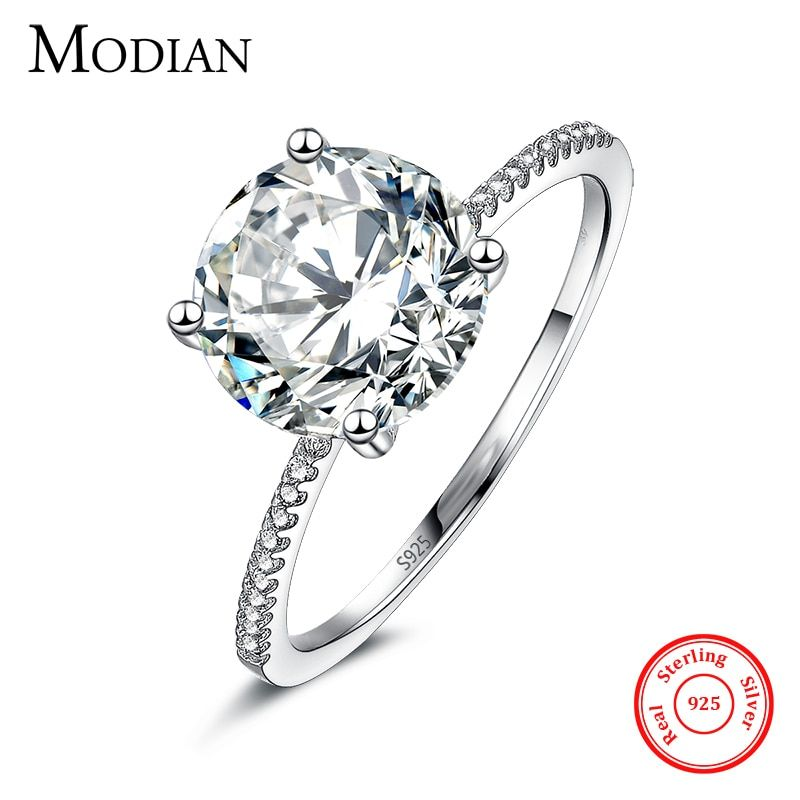 2017 Classic Luxury Real Solid 925 Sterling Silver Ring 3Ct 10 Hearts Arrows Zircon Wedding Jewelry Rings Engagement For Women