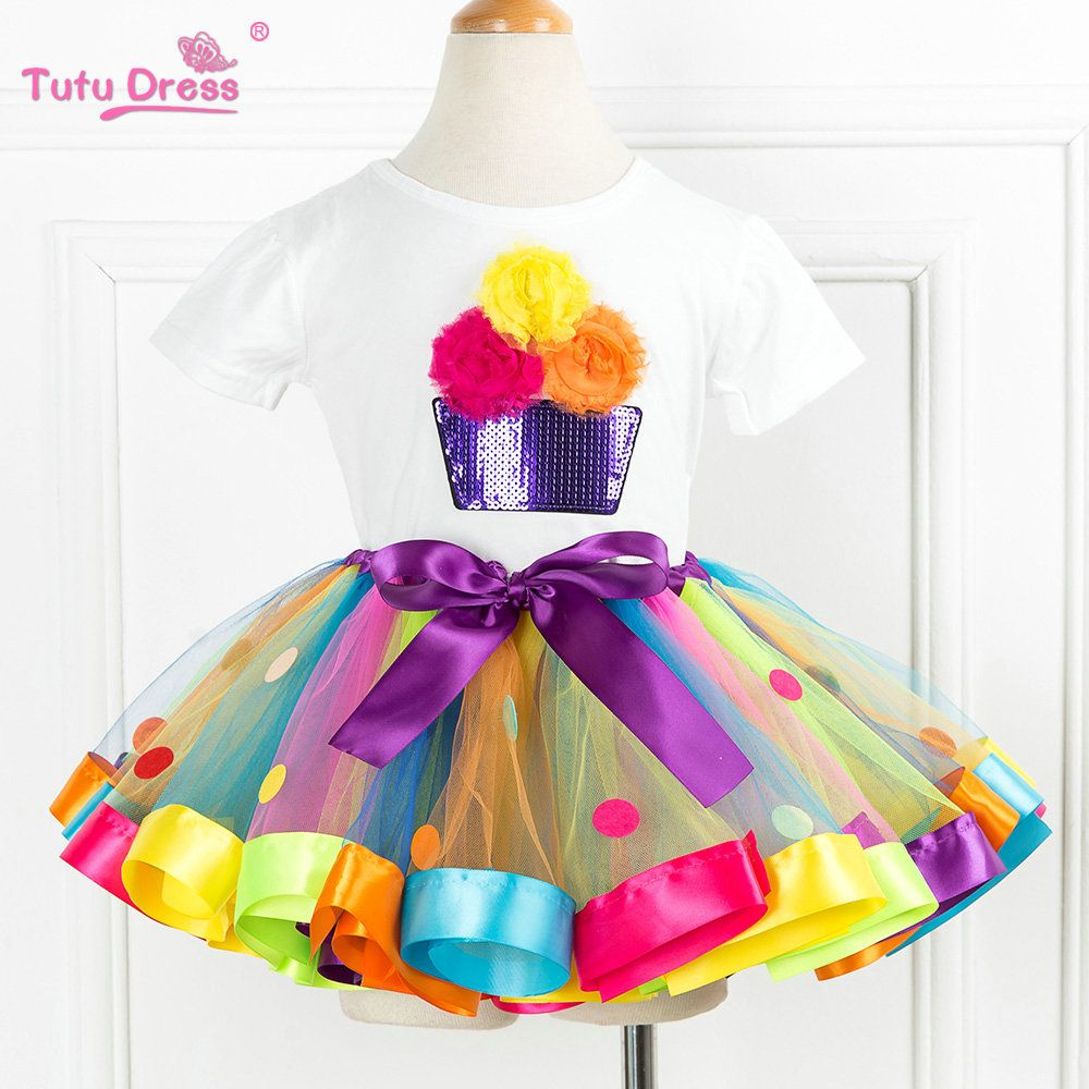 2018 New Arrive Summer Girls Clothing Sets Cartoon Flower T-Shirts+Tutu Skirt Dress <font><b>2Pcs</b></font> Girls Clothes Sets For 2-12 Years
