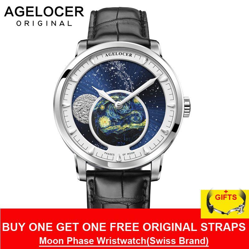 AGELOCER Neue Mond Phase Design Schweizer Uhr Herren Uhren Top Brand Luxus Schwarz leder Uhr Männer Automatische Uhr 6401A1