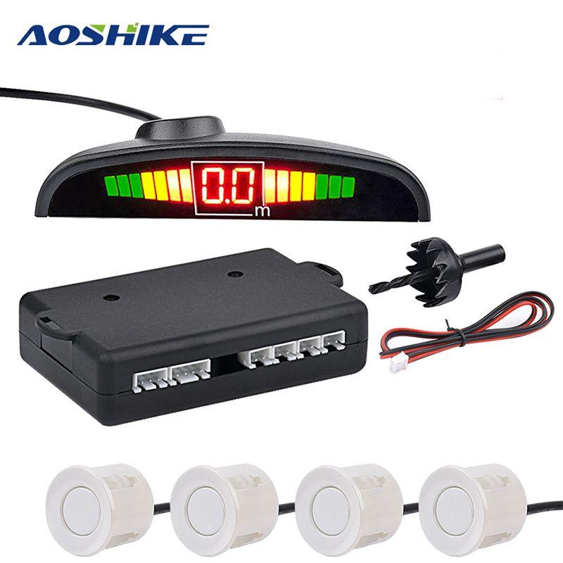 AOSHIKE Moniteur De Voiture Détecteur Système Auto Parktronic LED Parking Capteur avec 4 Capteurs Inverse De Voiture De Sauvegarde Parking Radar