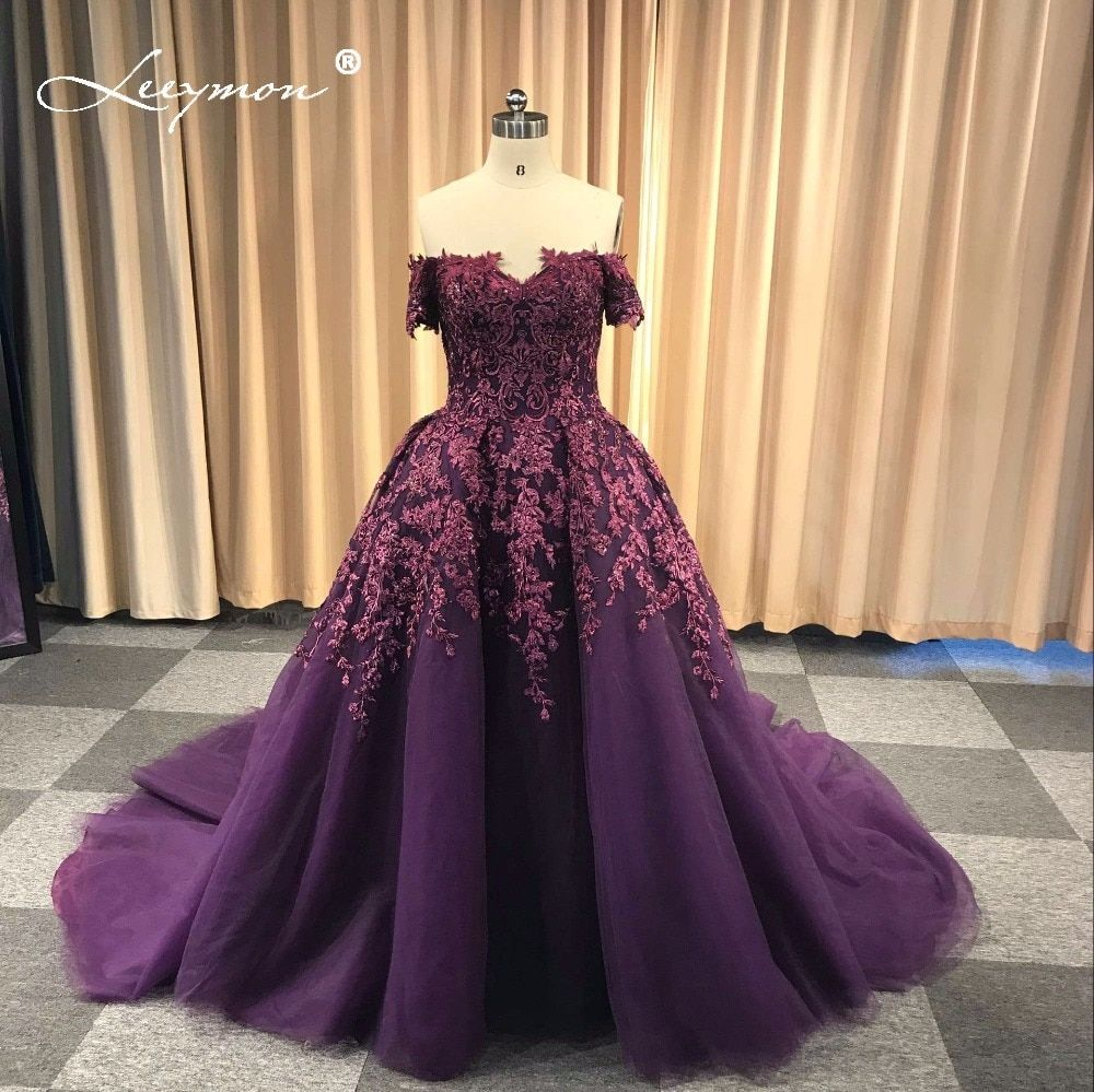 Leeymon Elegant Lace Off Shoulder Prom Dress Red Crystal Evening Dress 2018 Ball Gown Party Dress for Wedding LY1161